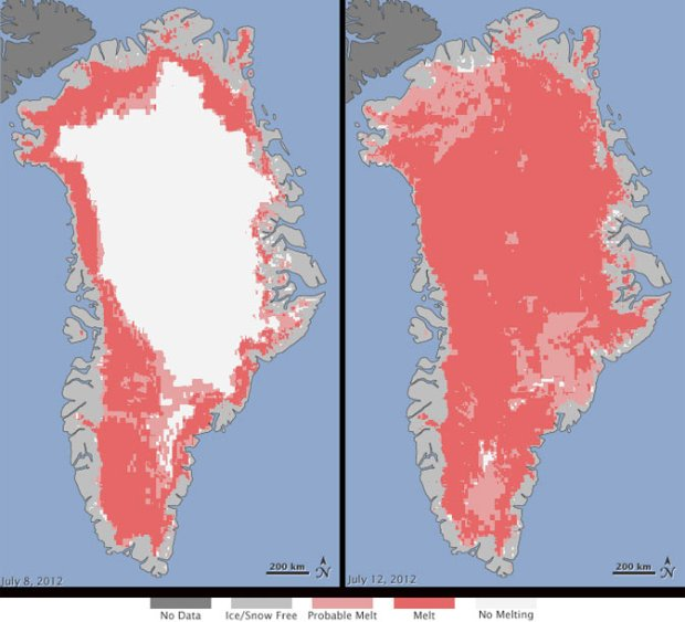 Red areas covering almost the entire surface of Greenland's ice sheet show dramatic acceleration of melting this summer.