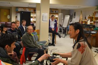 Latitude 53's Winter Salon on Cold and Warmth kicked off with a moving tea ceremony from the Multicultural Health Brokers Co-op. Yvonne Chiu offered the first samples.