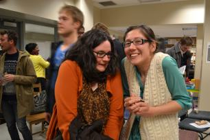 """Elizabeth and Kathryn give their best """"it's cold outside"""" faces."""