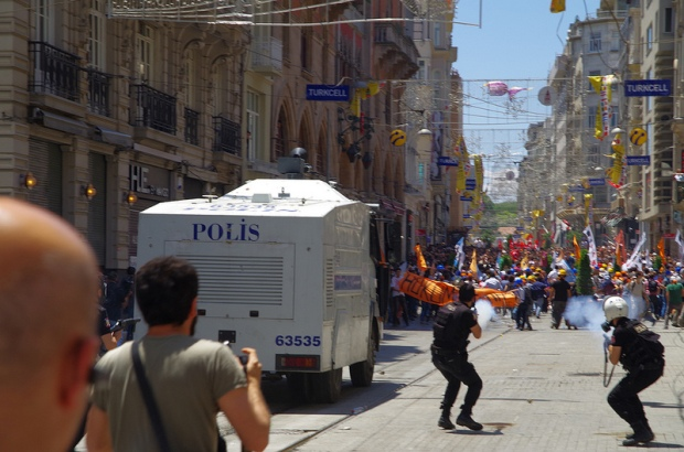 Police in Istanbul fire at protesters rallying around Taksim Square (Photo: Alan Hilditch)