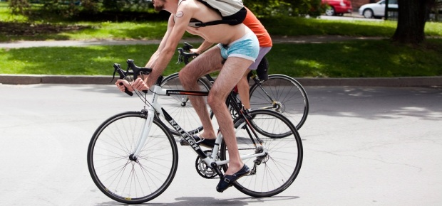 Nearly-naked cyclists zoom by in Albany, NY