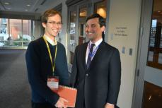 Trevor enjoys an awkward moment with Conservative MP Michael Chong (Photo: Chris Chang-Yen Phillips)