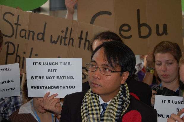 Filipino lead negotiator Yeb Sano joined with representatives of civil society back in November 2013 to call for immediate climate action at the COP19 UN Climate Talks. A growing number of people in Warsaw and around the world are joining in Sano's voluntary fast for climate action including Fast for the Climate. Credit: 350.org (http://www.flickr.com/photos/350org/)