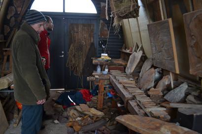 Páll Guðmundson (front) and his workshop