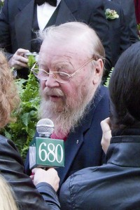 Mowat being interviewed at the induction ceremony for Canada's Walk of Fame, 2010